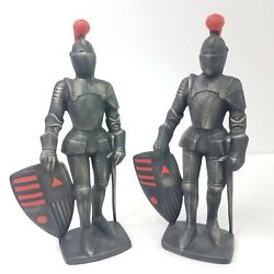 Vtg Medieval Metal Knight Statues 9 With Shield And Swords Engraved Atlantic Mold