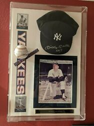 Mickey Mantle Framed Signed Autographed Baseball And Signed Yankees Hat With Coa