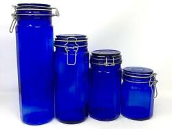 4 Cobalt Blue Glass 12-panel Canister Jars With Wire Bale Closures Charity