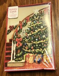 Vintage Christmas Greeting Cards Glitter Tree Staircase Banister Nib 16 Count