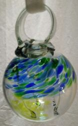 4 Hanging Witch Ball Hand Blown Art Glass Spirit Scrying Orb Blue Green Yellow