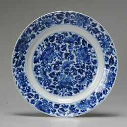 Antique Kangxi Mark And Period Chinese Porcelain Blue And White Floral Pla...