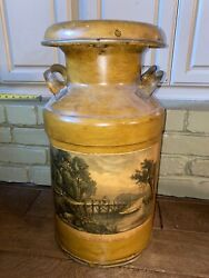 Gorgeous Antique Milk Can Hand Painted The Old Ford Bridge- 20andrdquo Hansen And Atlee