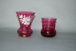 Cranberry Glass Mary Gregory And Optic Toothpick Lot