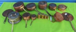 Vintage Thick And Heavy Copper Pots And Pans - Lot Of 13 Pieces Lids