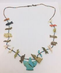 Vintage Zuni Native American Sterling Turquoise Fetish Animal Beaded Necklace