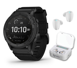 Garmin Tactix Delta Tactical Military Gps Smartwatch Solar With White Earbuds