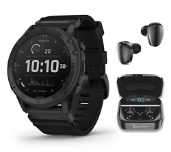 Garmin Tactix Delta Tactical Military Gps Smartwatch Solar With Black Earbuds