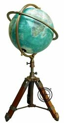 Antique Brass Armillary Sphere With Arrow Nautical Maritime Engraved Globe 10.5