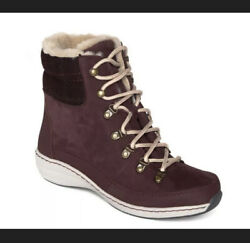 Aetrex Jodie Bb289 Wine Red Leather Suede Waterproof Boots Eu 37 170 New Us 7