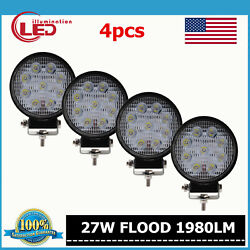 4x 27w 4 Inch Flood Led Work Light Round Lamp For Offroad Atv Truck Suv Boat
