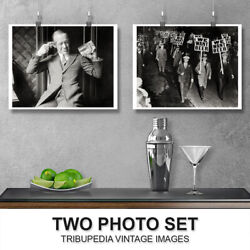 Vintage 1920s-30s Prohibition Two Photo Set - We Want Beer Bar Man Cave Wall Art