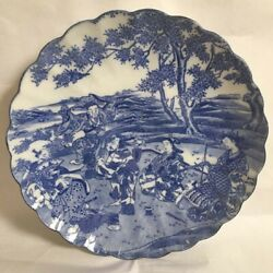 Rare Edo Period Japanese Hand Painted Blue And White 7 Gods 12 Scallop Edge Plate