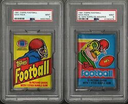 1981 Topps Football Wax Pack Psa 9 Mint Lot Of 2 W/1979 Wrapper Variation