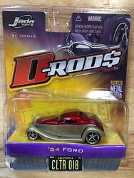 Jada Toys D-rods 34 1934 Ford Gold And Red Die Cast Metal Car 1/64 Scale