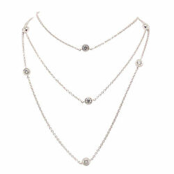 14k And 18k White Gold 1.04ct Tdw Lab-grown White Diamond 33 Inch Station Necklace