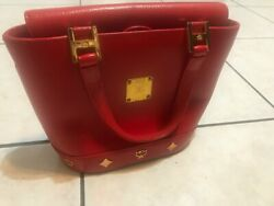 MCM Leather Red Bag medium size with chain $70.00