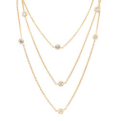 14k And 18k Yellow Gold 1.16ct Tdw Lab-grown White Diamond 36 Station Necklace