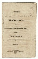 Barney Merry / Address Of The Grand Lodge Of Rhode-island And Providence 1st Ed