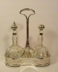 Antique Barbour Sterling Silver And Cut Glass Tantalus Silver Overlay Stoppers