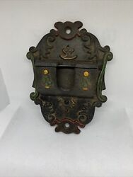 Wilton Cast Iron Match Holder Or Flag Pole Holder Hand Painted Wall Mounted