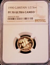 1990 Great Britain Gold 1/2 Sovereign Ngc Pf70 Ultra Cameo Just Graded Pq Lm203