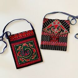 2 Vintage Boho Embroidered Small Bags Crossbody Zippered $10.00