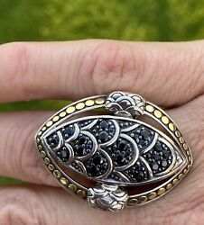 Andnbspjohn Hardy Naga Pave Black Sapphire Ring Sterling 18kt Dots Size 7 Gorgeous
