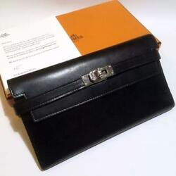 Hermes Kelly Wallet Box Scarf Black Maintained At Hermesand039s Store Ex++