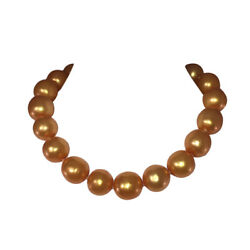 Golden Massive Simulated South Sea Pearl Bead Necklace