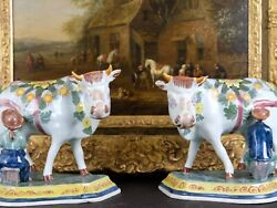 Lovely Large Pair Of Old Delft Milkers And Cows Figurines 19.5x15x16.5 Cm