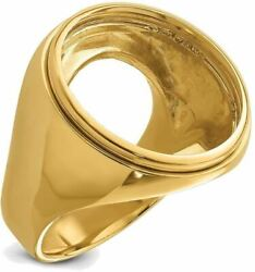 14k Yellow Gold Polished Mens Comfort Fit 21.6mm Coin Bezel Ring