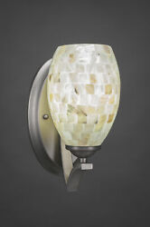 Zilo Wall Sconce Shown In Graphite Finish With 5 Ivory Glaze Seashell Glass