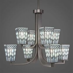 Apollo 8 Light Chandelier With Hang Straight Swivel Shown In Graphite Finish ...