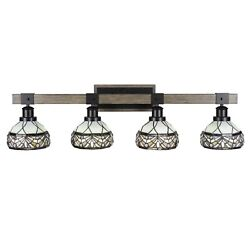 Tacoma 4 Light Bath Bar In Matte Black And Painted Distressed Wood-look Metal W...