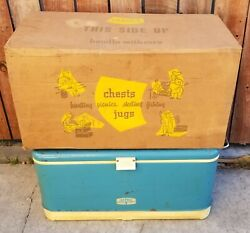 Vintage 1960s Thermos Cooler Ice Chest Metal W Original Box