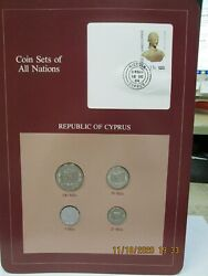 Cyprus Set In Franklin Mint Coins Of All Nations Card. 4pc. 1982