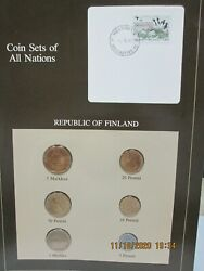 Finland Set In Franklin Mint Coins Of All Nations Card. 6pc. 1982-4