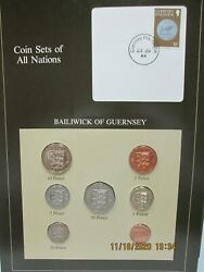 Guernsey Set In Franklin Mint Coins Of All Nations Card. 7pc. 1979-83