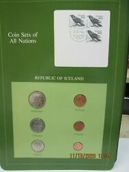 Iceland Set In Franklin Mint Coins Of All Nations Card. 6 Pc 1981-84