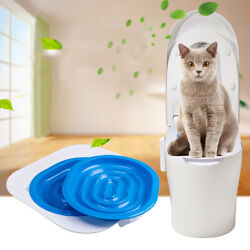 1x Plastic Cat Toilet Training Kit Pets Potty Urinal Litter Tray Easy to Learn