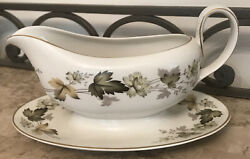 Royal Doulton Larchmont Handled Gravy Boat With Underplate Leaves With Gold Trim