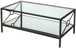 Cocktail Table Transitional Rectangular Rectangle Gold Accents Black