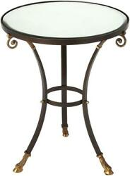 Accent Table Old World Round Beveled Top Brass Distressed Antique Copper Ir