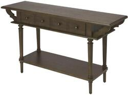 Console Table Vintage Antique Brass Coffee Distressed Steel Hardware Ash