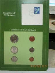 Newzealand Set In Franklin Mint Coins Of All Nations Card 6 Pc. 1982