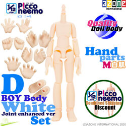 Azone 1/12 Picco Neemo Flection D Boy Body And M Hand / Foot Parts Set White Doll