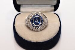 Vintage Platinum Art Deco Style Natural Sapphire And Diamond Decorated Ring