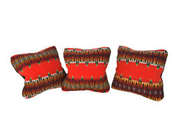 Set Of 3 Down Throw Pillows 22x22 Made From Vintage/antique Pendleton Blanket