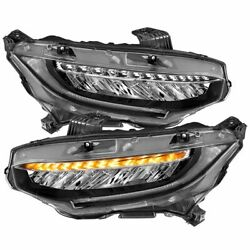 121527 Anzo Headlight Lamp Driver And Passenger Side New Lh Rh For Honda Civic